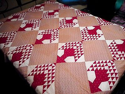 Stunning - Antique Pre 1900 Unusual Red Tree Pattern Quilt Top - All Hand Done!