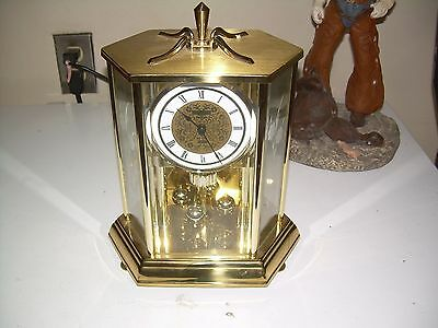 Howard Miller Brass And Etched Glass Anniversary Clock  Made In  Germany