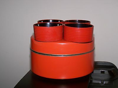Mid Century Japanese Wooden Laquerware Tea Caddy and Cups