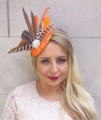 Orange White Brown Pheasant Feather Fascinator Pillbox Hat Races Wedding 3643