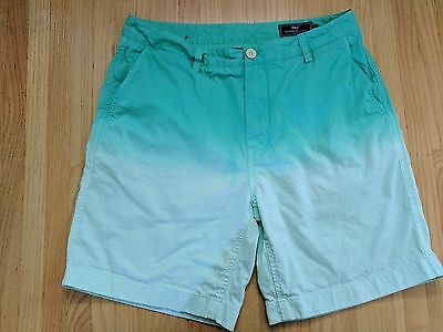 men's Vineyard Vines casual flat front cotton shorts green sun faded style 34