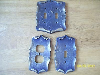 3 Vintage Carriage House Electric Switch  Outlet Cover Plate Brass  mid century