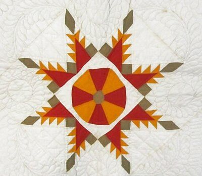 RARE Pattern! c1870s Feathered Star WHEEL Antique Quilt Cheddar Red FINE quilted