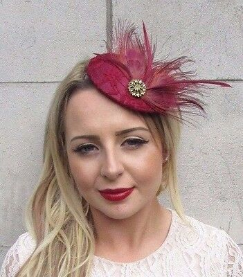 Burgundy Wine Red Gold Feather Fascinator Pillbox Hat Races Wedding Hair 3645