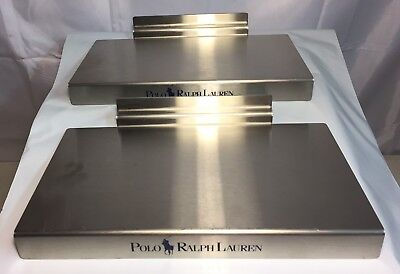 "RALPH LAUREN POLO Metal STORE SIGN Cologne Display Shelf Vtg Lot Of 2 10"" X 5.5"""