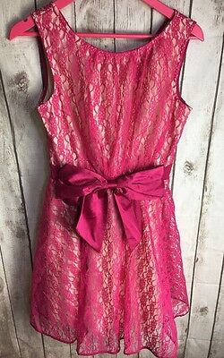 Bnwt Little Mistress Floral Lace Large Bow Swing Cocktail Dress Size 12 Wedding
