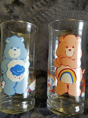 lot of 2 vintage Pizza Hut Care Bear collectible glasses