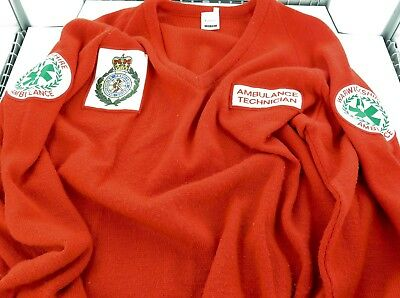 Rare / Vintage Warwickshire Ambulance Service, Ambulance Technican Red Pullover.