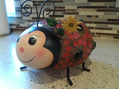 Ladybug Stained glass like candle Holder All Metal and glass Excellent!