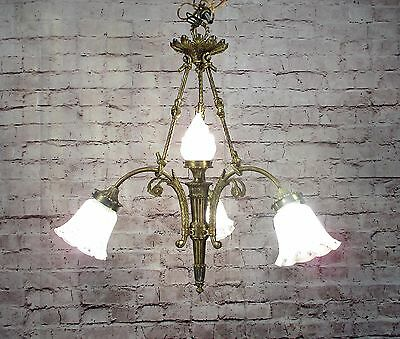 Antique Vintage Chandelier Bronze French Down Light Shades Fixture Pendant Lamp