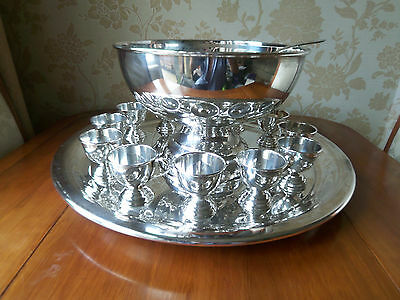 Punch bowl set, silver plated