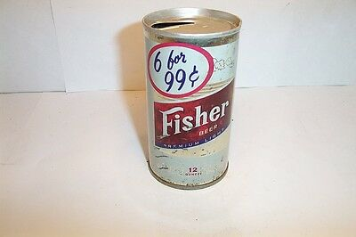 "Fisher ""6 for 99c"" Premium Light Beer Straight Steel Pull Tab Top Outdoor"