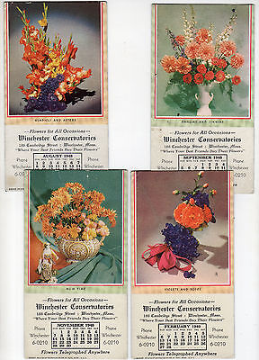 4 Advertising Ink Blotters From 1948-49, Winchester Conservatories Flowers