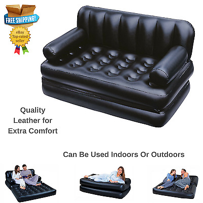 Blow Up Sofa Bed Chair Mattress Spare Guest Inflatable Air Couch Pump Included