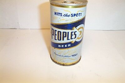 Peoples Beer 70s SS Pull Tab Top Peoples Brewing Oshkosh WI Bottom Opened