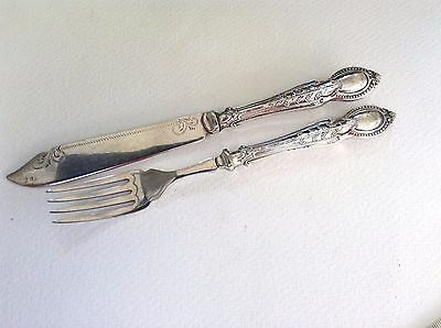 Vintage Sterling Silver Handled Fork & Slice by Sheffield Maker C H Beatson 1934