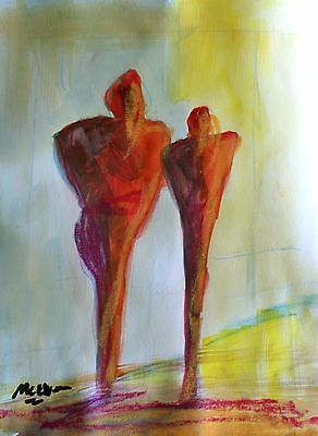 """Claire Mcelveen Original Watercolor And Oil Pastel Painting On Paper """"the Pair"""""""