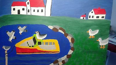 """""""Calm Waters"""" Fishing Boat, Lighthouse & Seagulls in Atlantic Canada FREE S & H"""