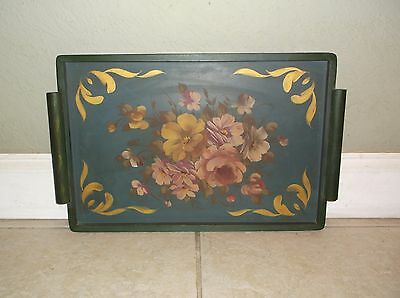Vintage Floral Motif Stenciled Tole Wood Tray
