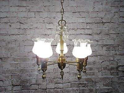 Antique Vintage Chandelier Brass Glass Fluted Shades Restored FIXTURE Pendant