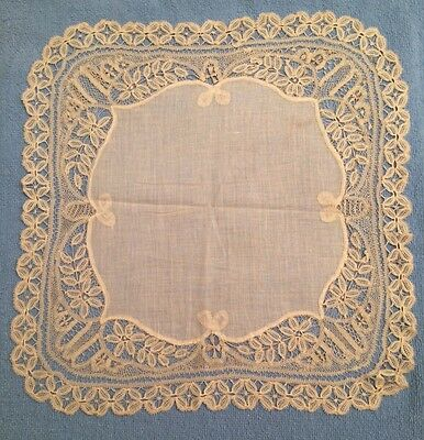 """Beautiful Victorian antique lace border handkerchief Ivory White Homemade 12x12"""""""
