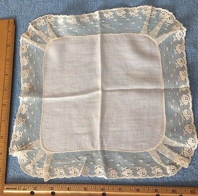 Beautiful Victorian antique lace border handkerchief White Homemade rose pattern