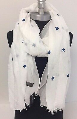 Women's New Pretty Stars Print Long White Soft Fashion Cotton Scarf Wrap Shawl