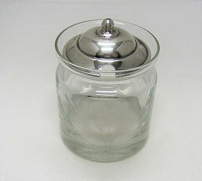 Etched Glass Mustard or Jam Jar With Wallace Sterling Silver Lid