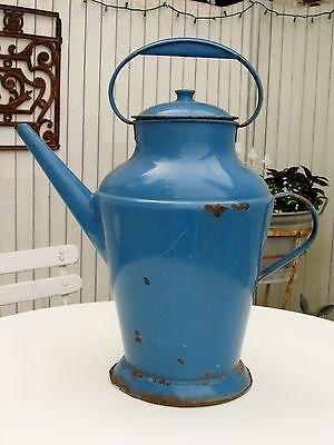 Antique French Enamelware Pitcher Jug with Lid