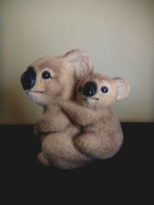 Flocked Fuzzy Koala Bear Mom & Baby Vintage Money Coin Piggy Bank~Cute!