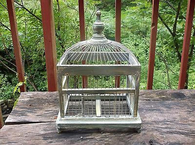 Antique Primitive Style Wood And Metal Domed Bird Cage