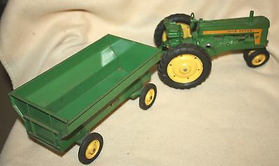 VINTAGE 1950's JOHN DEERE TOY TRACTOR with WAGON & TRAILER!