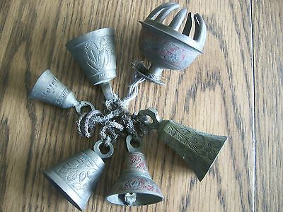Lot Of 6 Brass Bells On Rope  Indian Asian  Etched Large To Small  Claw Bell
