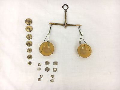 Vtg German Apothecary Brass Celluloid Small Balance Scale w/ Weights ASE 5 G