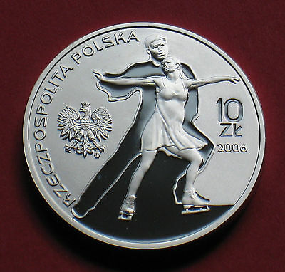 SILVER COIN OF POLAND - 2006 WINTER OLYMPIC GAMES TURIN ITALY FIGURE SKATING Ag