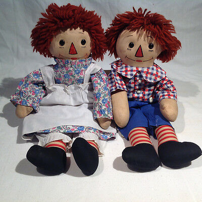 "1930's-1940's GEORGENE RAGGEDY ANN & ANDY DOLLS, BLACK OUTLINED NOSES, 18"" TALL"