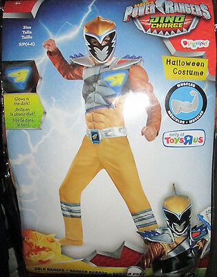 Power Rangers Gold Ranger Dino Charge Child (Sz Sm 4-6) Halloween Costume Muscle