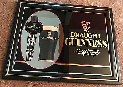 Official original GUINESS DRAUGHT Black mirror tapper Bar Sign beer Chicago USA