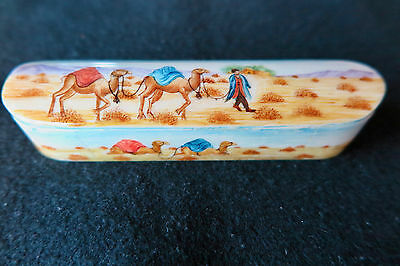 Rare Semi Antique Persian Hand Painted Bone Jewelry Trinket Box Case