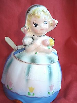 "Dutch Girl Sugar Bowl By Lefton 4 3/4"" Tall"