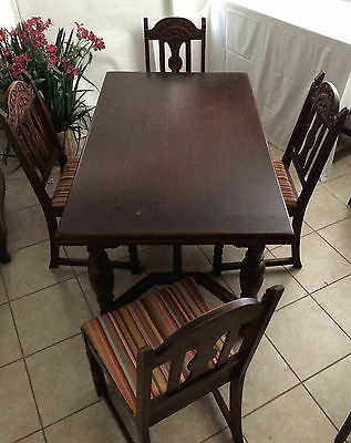 Antique Dark Wood Dining Table Extensions With 5 Chairs