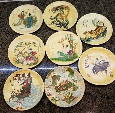 Lot of 8 Vintage Oriental Chinese Bamboo Plate Specialist Decorative Plates