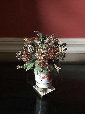 Herend Chinese Bouquet Rust Porcelain Vase With Enamel And Metal Jeweled Flowers