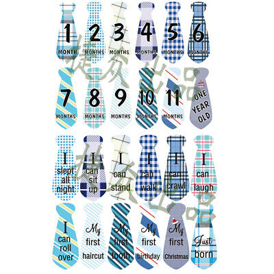 24pc Baby Boy Monthly Necktie Milestone Stickers tiesShower gift Months 1-12