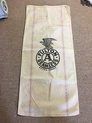 Vntg Antique Fulton Seamless Extra Heavy Feed Seed Sack Eagle Graphic