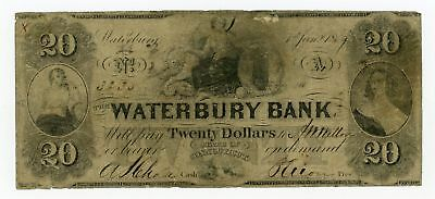 1859 $20 The Waterbury Bank - CONNECTICUT (CTFT.) Note