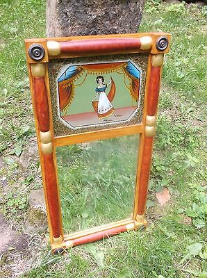 Antique Figural Reverse Painting Beveled Mirror