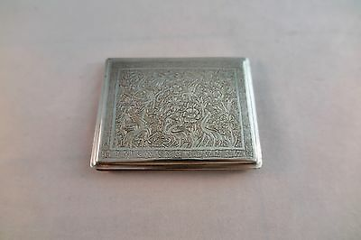 Antique Persian Silver Ornate Cigarette Case Business Card Holder Made in Iran