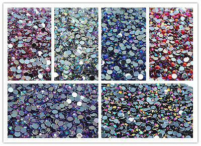 500PCS Luxury Colorful Flat Back Nail Crystal Rhinestones Facets Resin Beads