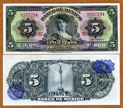 Mexico, 5 Pesos, 1958, P-60c, Blue Seal, HG-Serie, UNC > Gypsy Woman